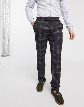 ASOS DESIGN wedding slim suit trousers in wool mix with window check in brown