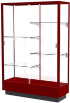 "Waddell Heritage Display Case, 48W by 70H by 18""D, Hardwood Cordovan Finish"