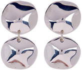Simon Sebbag Sterling Silver Wave Double Disc Clip On Earrings