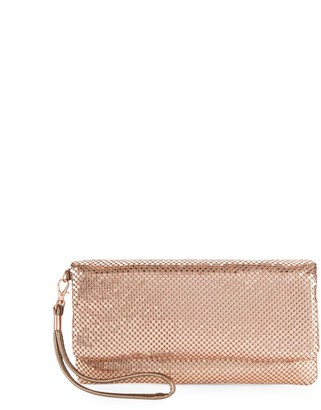 La Regale Mesh Metallic Foldover Clutch