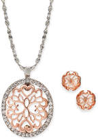 """Charter Club Two-Tone Pave Filigree Oval Pendant Necklace & Stud Earrings, 17"""" + 2"""" extender, Created for Macy's"""