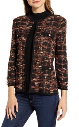 Ming Wang Check Jacquard Knit Jacket