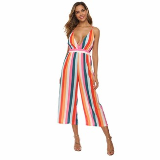 FORIDE Women's Striped Backless Jumpsuit Deep V High Waisted Rompers All in one Playsuit (L)