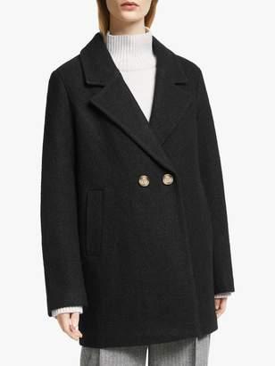 John Lewis & Partners Wool Blend Textured Pea Coat