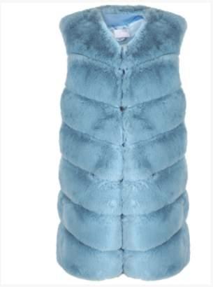 Paradise Boutique - Powder Blue Ultra Soft Chevron Faux Rabbit Fur Leather Panel Gilet - S/M