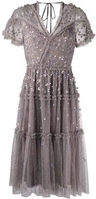 Needle & Thread Sequin-Embellished Flared Knee-Length Dress