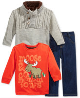 Nannette Baby Boys' 3-Pc. Cable-Knit Sweater, T-Shirt & Jeans Set