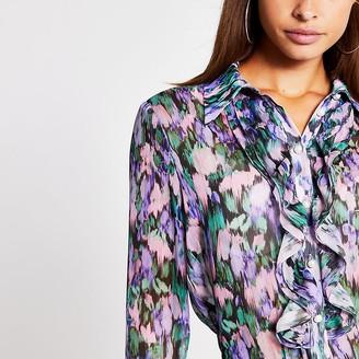 River Island Lilac long sleeve frill shirt