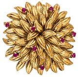 Tiffany & Co. 18K Ruby Leaf Motif Brooch
