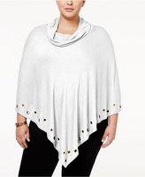 Belldini Plus Size Embellished Cowl-Neck Poncho