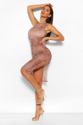 boohoo Croc Print Mesh Cut Out Neck Midi Dress