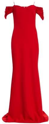 Badgley Mischka Floral Applique-Sleeve Stretch-Crepe Off-the-Shoulder Column Gown
