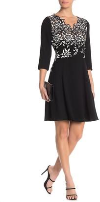 Shani Embroidered Crepe Dress