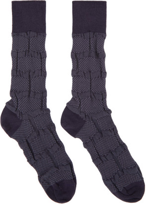 Issey Miyake Purple Geometric Socks