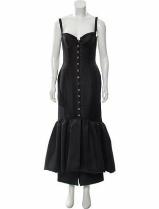 Sandra Mansour Ruffled Midi Dress w/ Tags Black