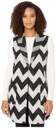 Tribal Shawl Collar Vest with Pockets (Black) Women's Vest
