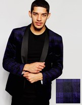 French Connection Black Watch Check Velvet Jacket
