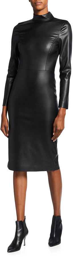 Thumbnail for your product : Alice + Olivia Delora Faux-Leather Mock-Neck Open-Back Dress