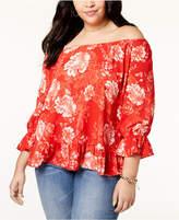 INC International Concepts I.n.c. Plus Size Off-The-Shoulder Peasant Top, Created for Macy's