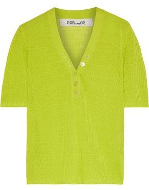 Diane von Furstenberg Paley Neon Ribbed Linen-blend Top