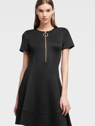 DKNY Women's Half-zip Fit-and-flare Dress - Black - Size 00