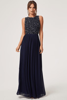 Little Mistress Luxury Anya Navy Hand-Embellished Sequin Maxi Dress
