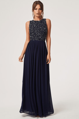 Little Mistress Luxury Anya Navy Hand-Embellished Sequin Maxi Dress