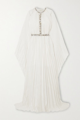 Semsem Cape-effect Bead-embellished Pleated Lame Maxi Dress - White