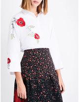 Vilshenko Serena floral-embroidered cotton-piqué shirt