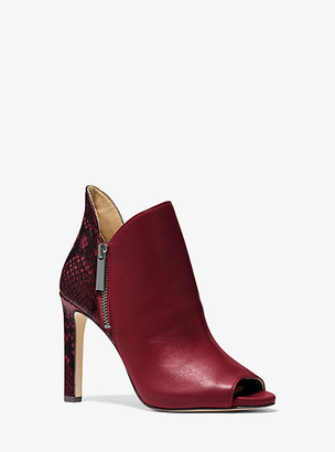 MICHAEL Michael Kors MK Alane Leather and Python Embossed Open-Toe Ankle Boot - Dark Berry - Michael Kors