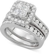 Macy's Diamond Square Halo Bridal Set (2-7/8 ct. t.w.) in 14k White Gold