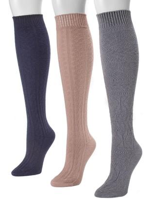 Muk Luks Women's Knee-High Socks, Set of 3