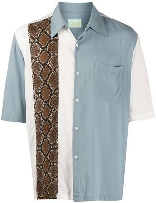 Aries snakeskin print panelled Hawaiian shirt