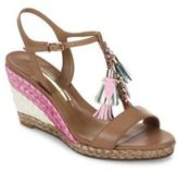 Sophia Webster Lucita Tassel Leather T-Strap Espadrille Wedge Sandals