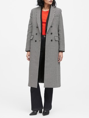 Banana Republic Petite Houndstooth Double-Breasted Car Coat