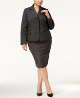 Le Suit Plus Size Three-Button Plaid Skirt Suit