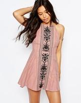 Asos Panel Embroidered High Neck Cross Back Beach Dress