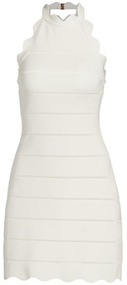 Herve Leger Scalloped Halter Mini Dress