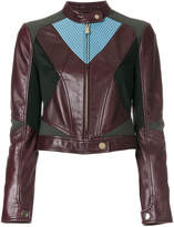 Versace contrast panel biker jacket