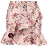 Endless Rose ASYMMETRICAL RUFFLE Mini skirt dusty rose brocade