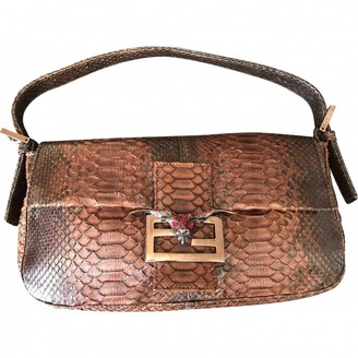 Fendi Baguette Brown Python Clutch bags