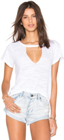 LnA Short Sleeve Cut Out V Neck Tee