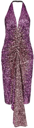 Halpern Halterneck Sequin-Embellished Dress