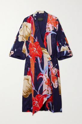 Etro Printed Floral-jacquard Robe - Navy