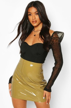 boohoo High Shine Vinyl A Line Mini Skirt