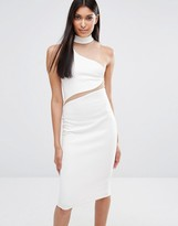 Missguided Asymmetric Neck Mesh Insert Midi Dress