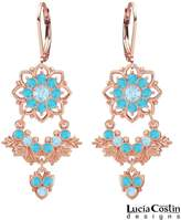 Chandelier Earrings by Lucia Costin Crafted in 24K Pink Gold over .925 Sterling Silver with Light Blue and Turquoise Swarovski Crystals, Adorned with 6 Petal Flower, Leaves and Fancy Charm
