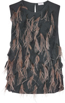 Brunello Cucinelli Feather-embellished Silk-blend Top - Charcoal