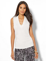 New York & Co. 7th Avenue - Chain-Link Detail Sleeveless Shirred Top - White