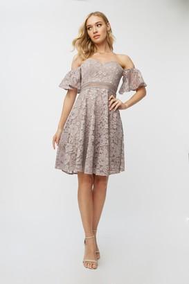 Little Mistress Leonora Oyster Lace Sweetheart Bardot Dress